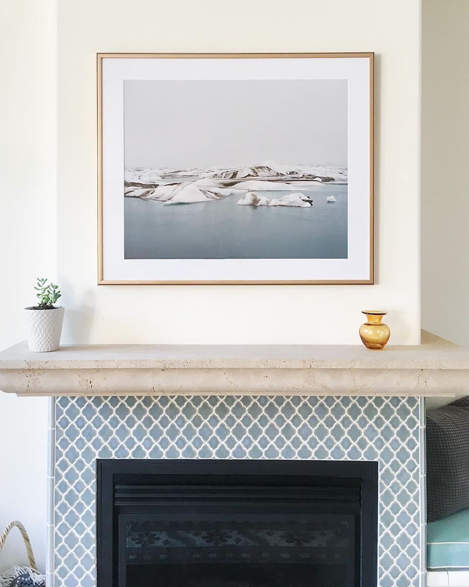 """""""Icebergs (Jökulsárlón, Iceland)"""" ,   24""""x30"""", in a collector's home."""