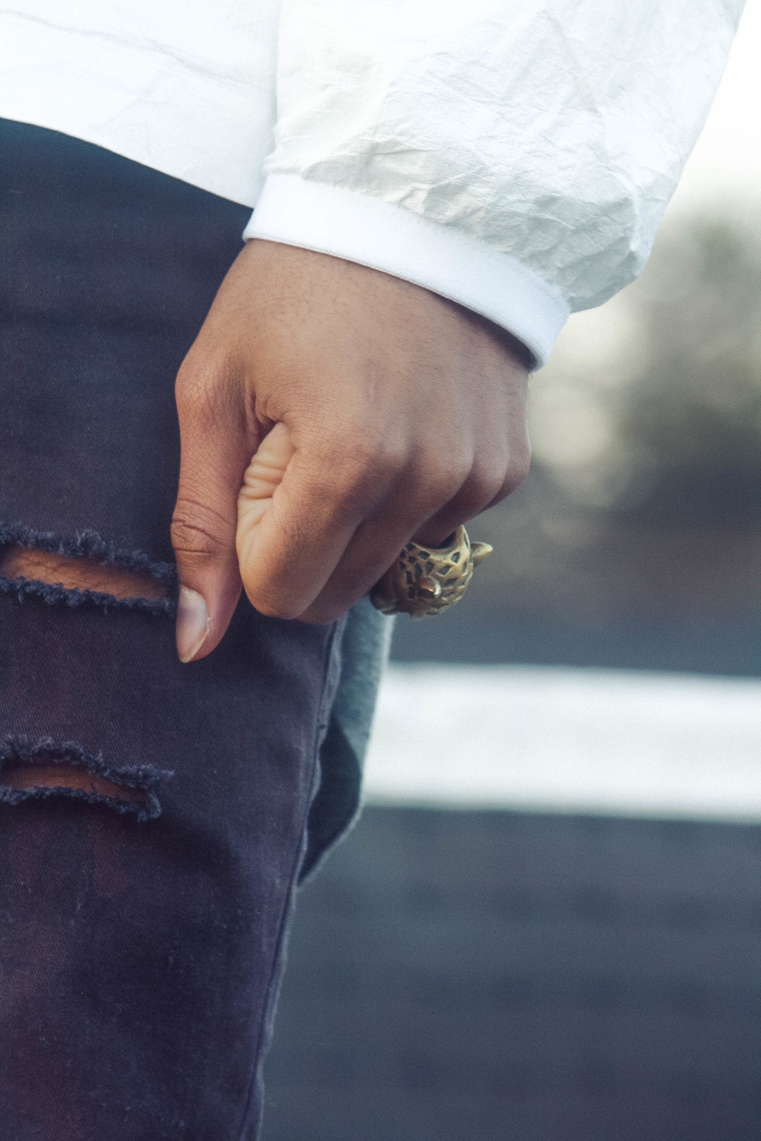 Elev8ed photoshoot with model/fashion-blogger, Sir Johnson, for Yeezy S1 invitational jacket