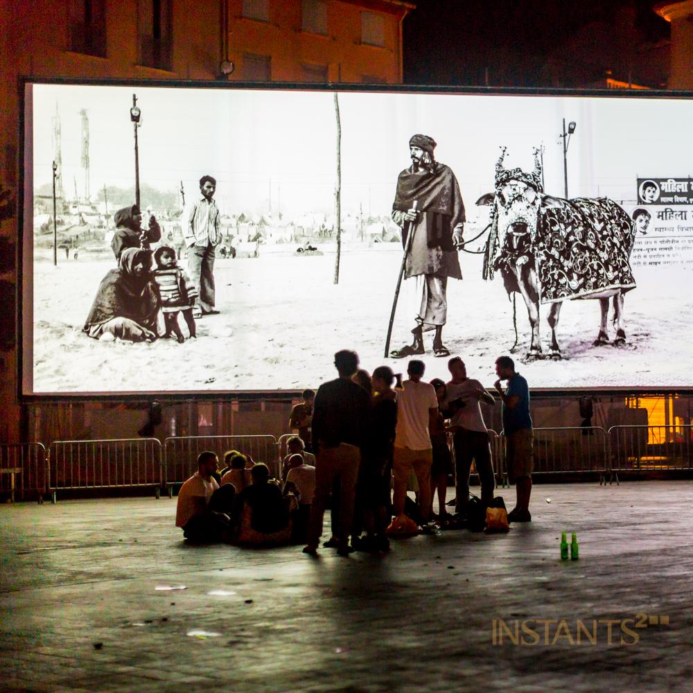Perpignan, France - 06.09.2013 :People discussing late at night @ Place de la République @ Visa pour l'image, Perpignan.