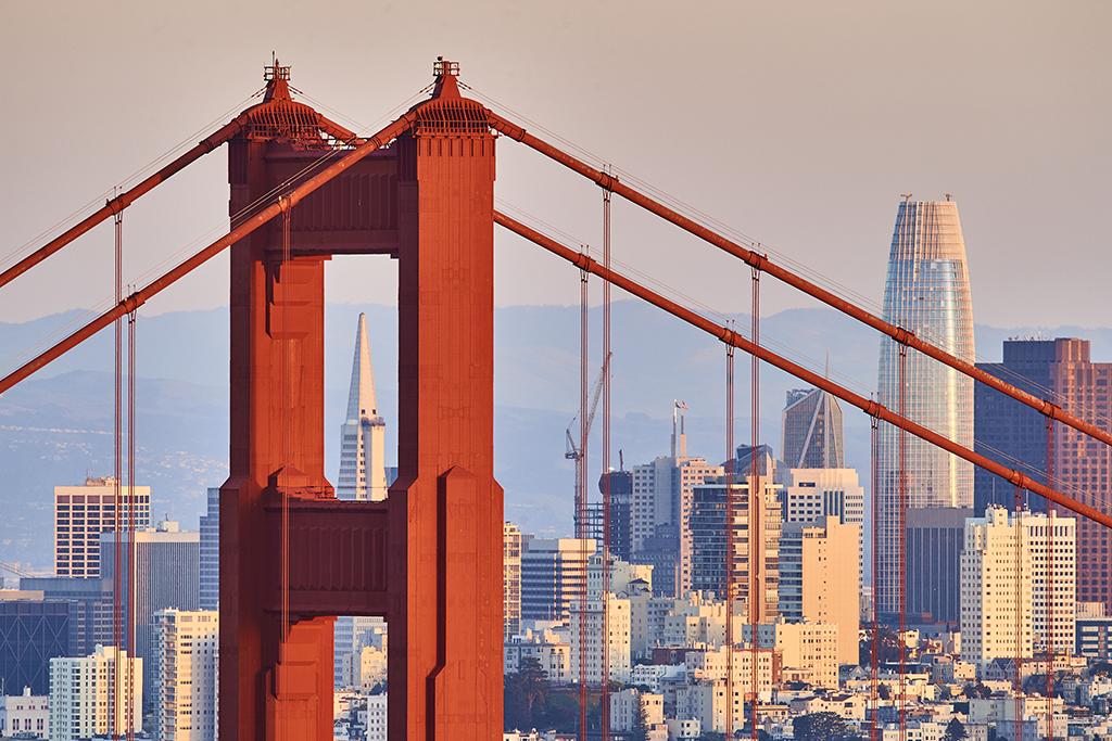 Golden Gate Bridge, Russian Hill, North Beach, Financial District, SoMa, San Francisco, seen from Marin Headlands NRA