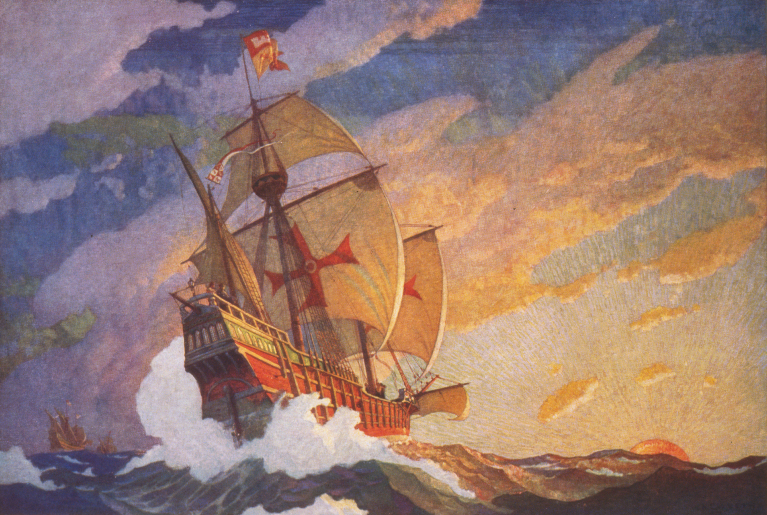 """Ships of Christopher Columbus at sea,""  N.C. Wyeth"