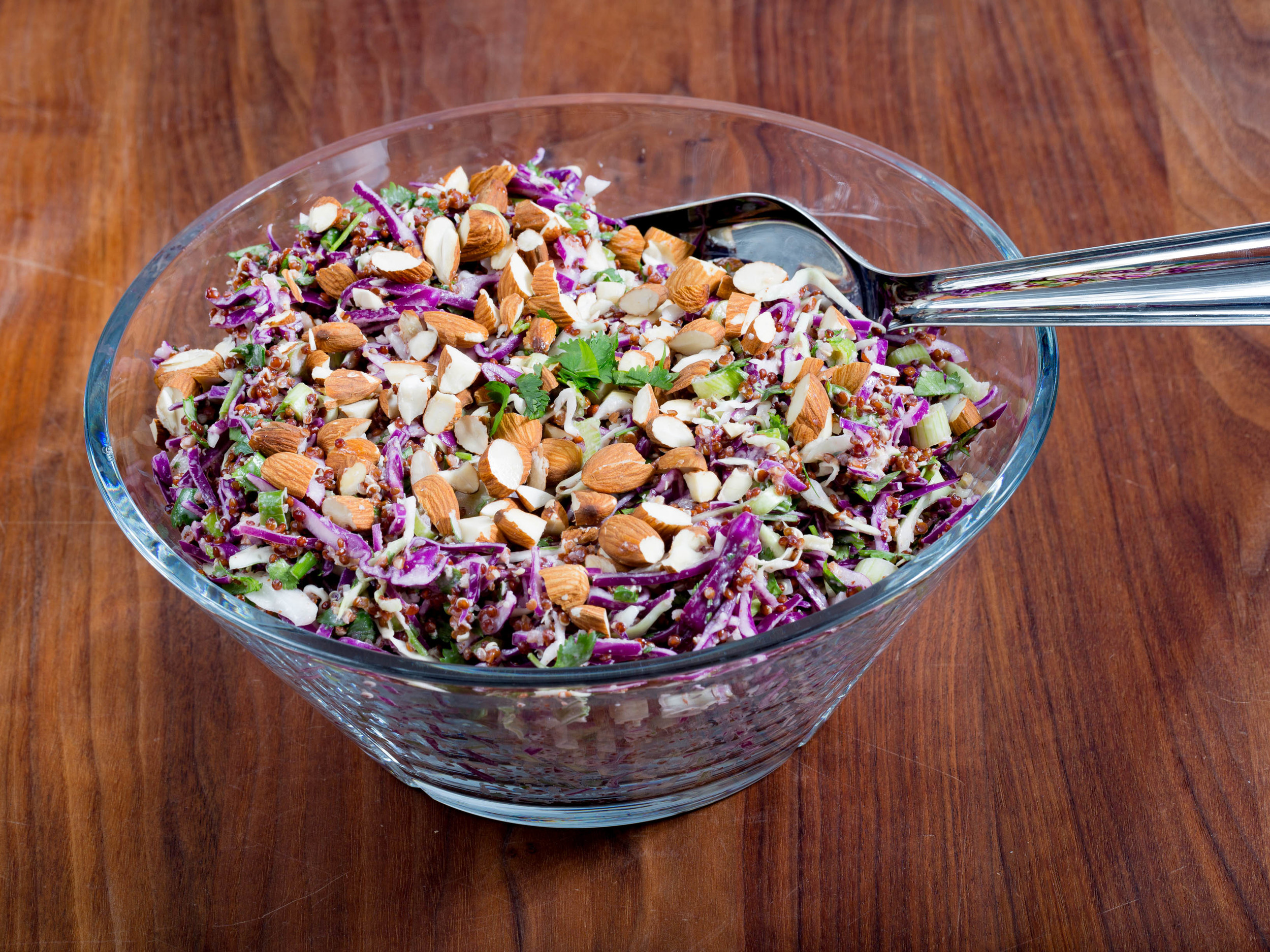 Crunchy Quinoa Slaw with Almond & Ginger Dressing