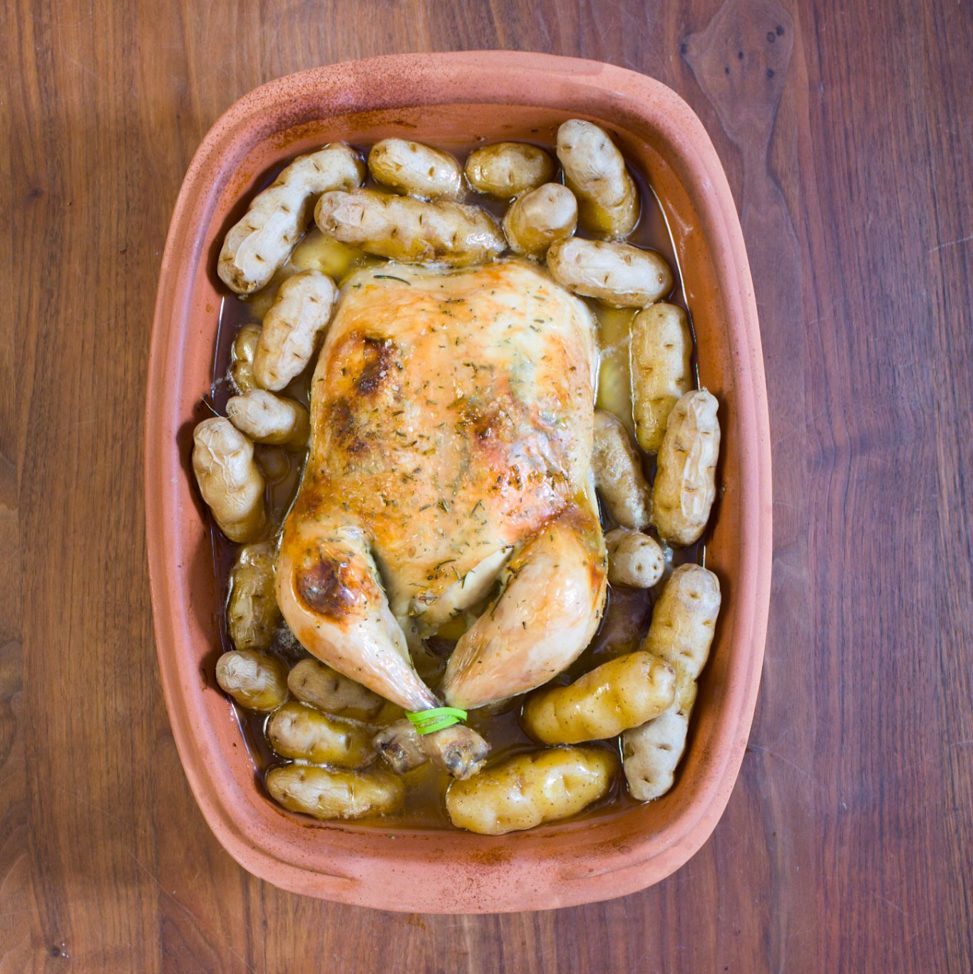 Slow Roasted Chicken in Clay Baker