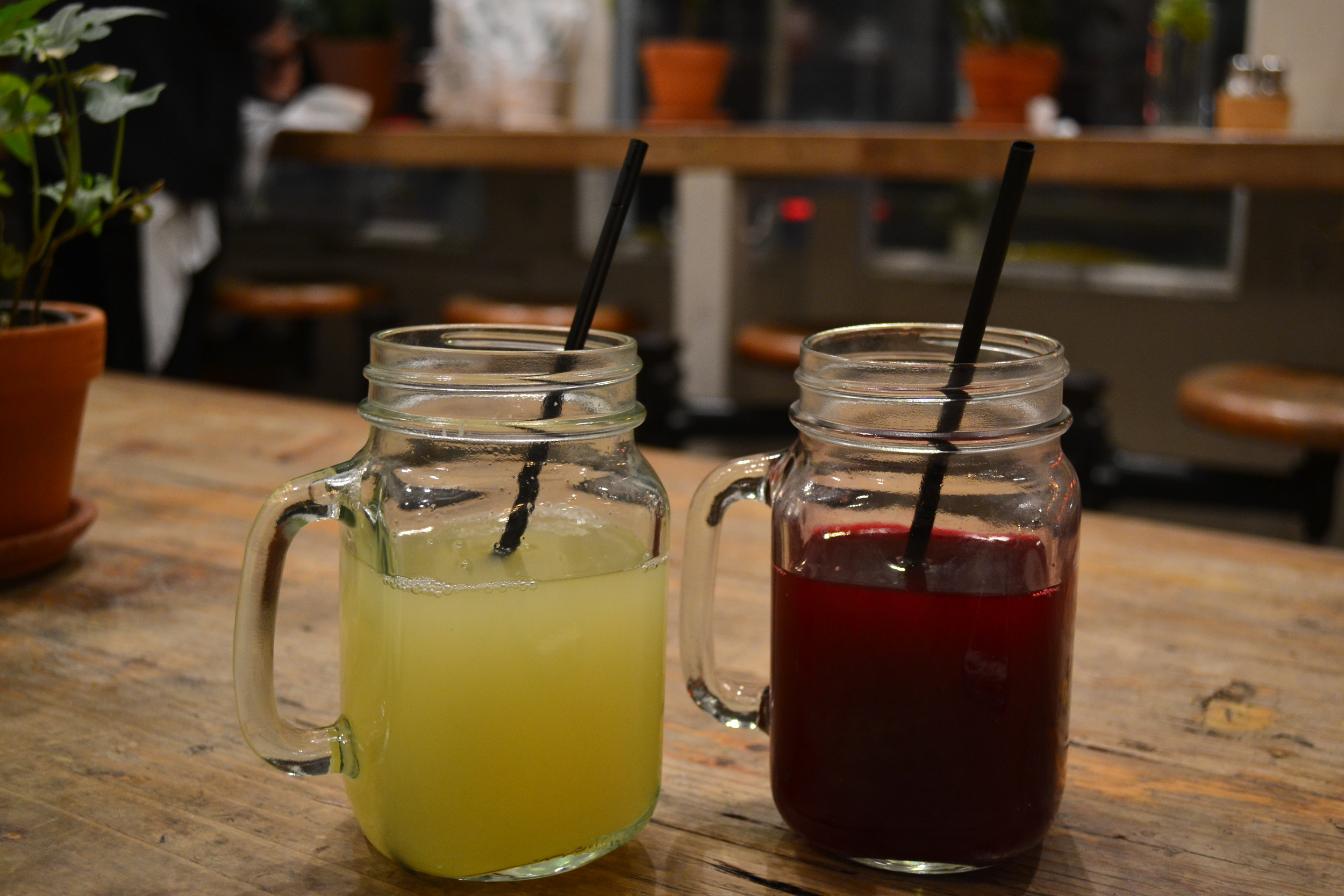 Red and Yellow simple juices at The Butcher's Daughter