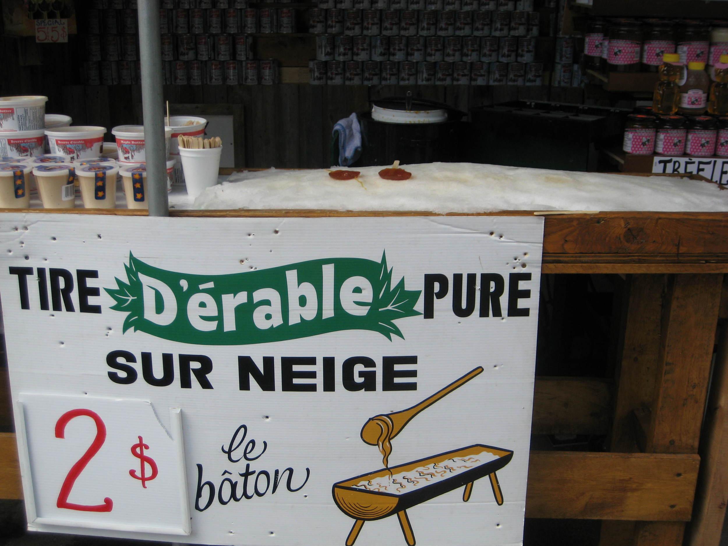 Maple Syrup on Snow—a sticky, sweet, andvegan Montreal treat. At JeanTalon Market.