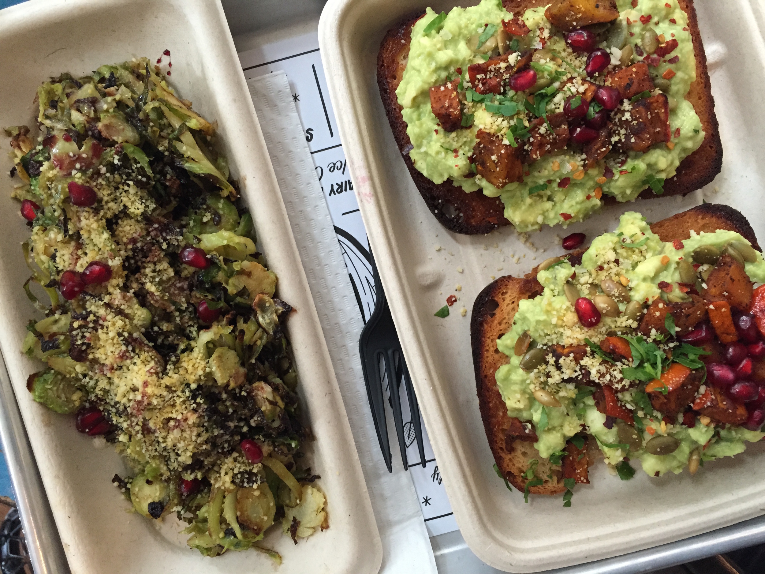 At by CHLOE. in NYC, we learned that avocado toast tastes great with a little sweet and crunch, and that brussels sprouts are ah-mazing.