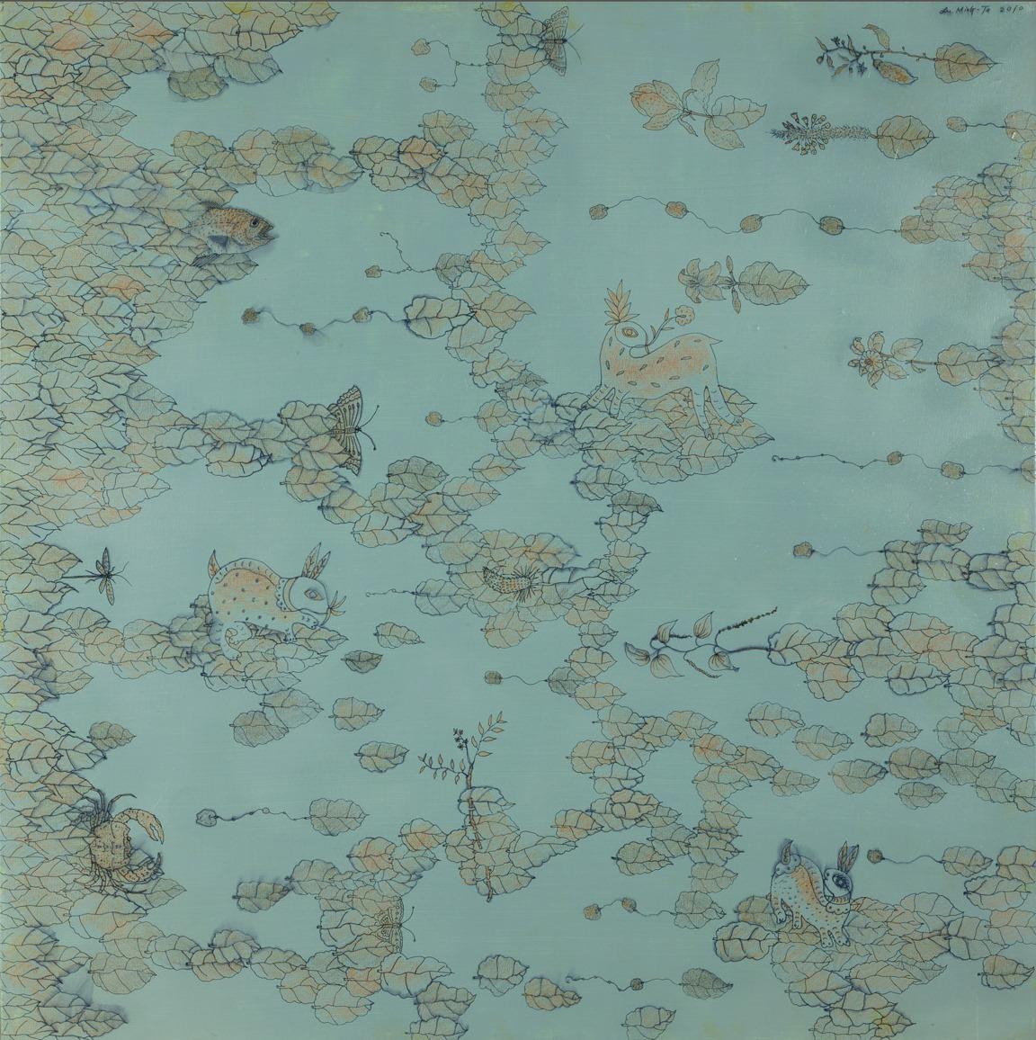 雲端社群  105x105cm  2012  複合媒材
