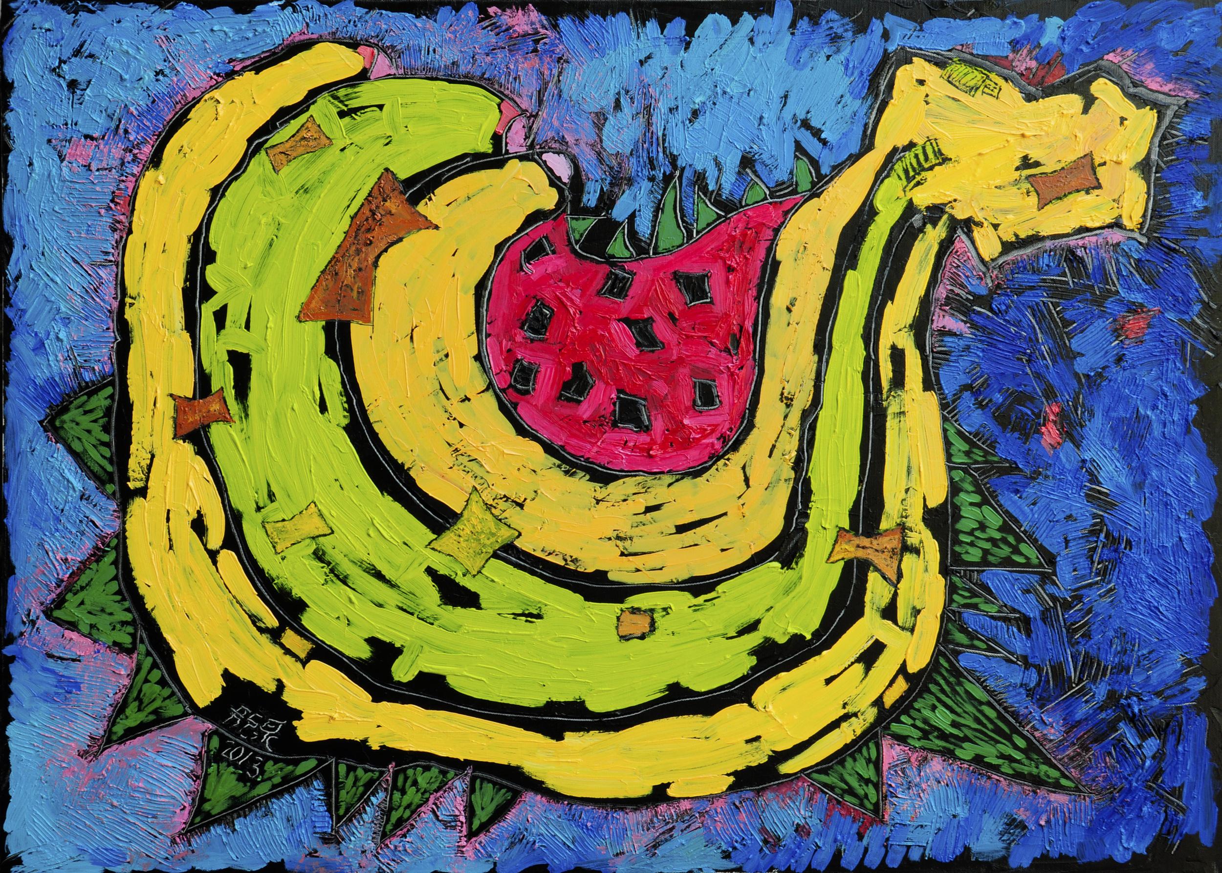 芭那那與甜瓜  30P  油畫  2013