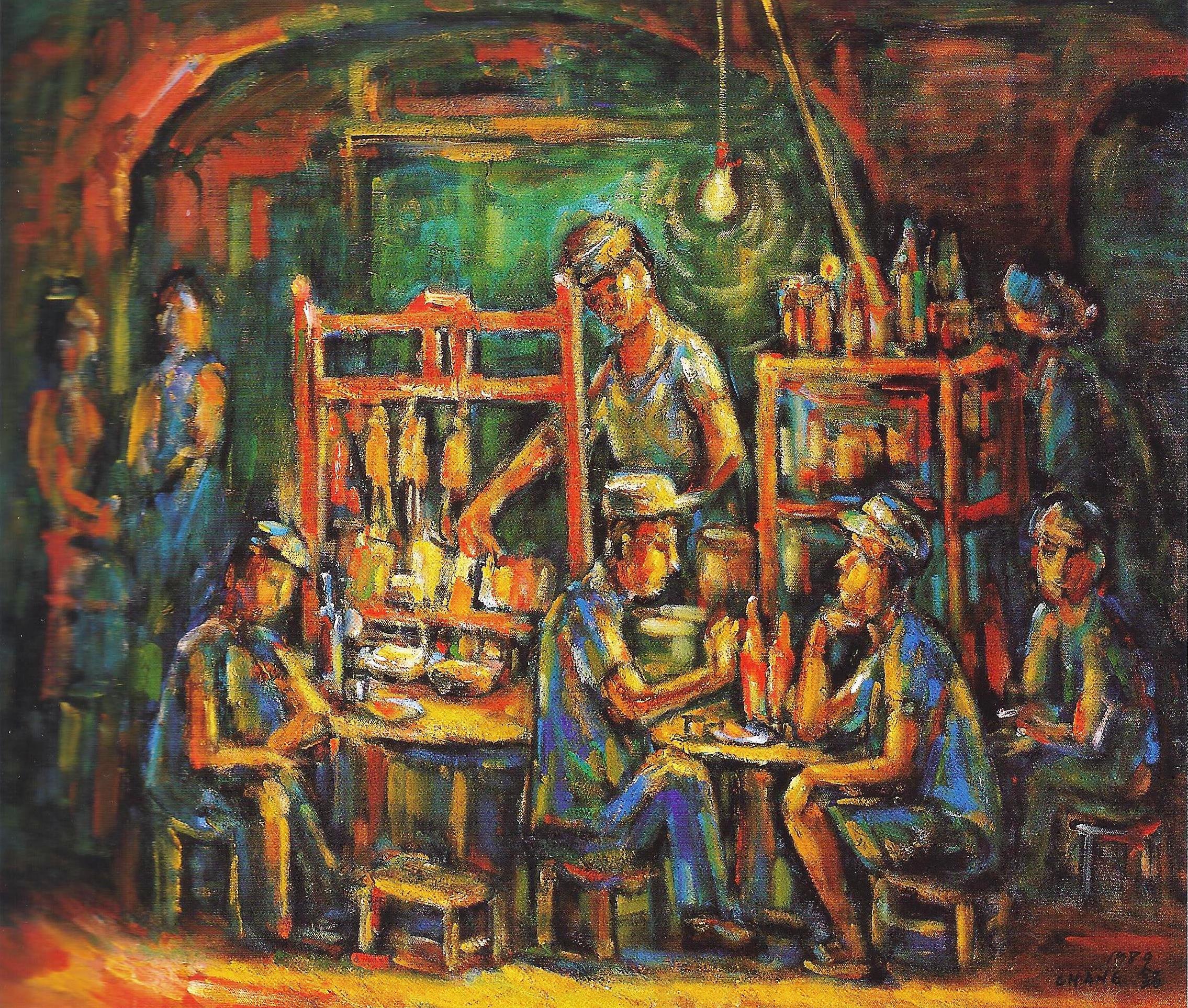 路邊攤  73x60  油彩畫布  1989