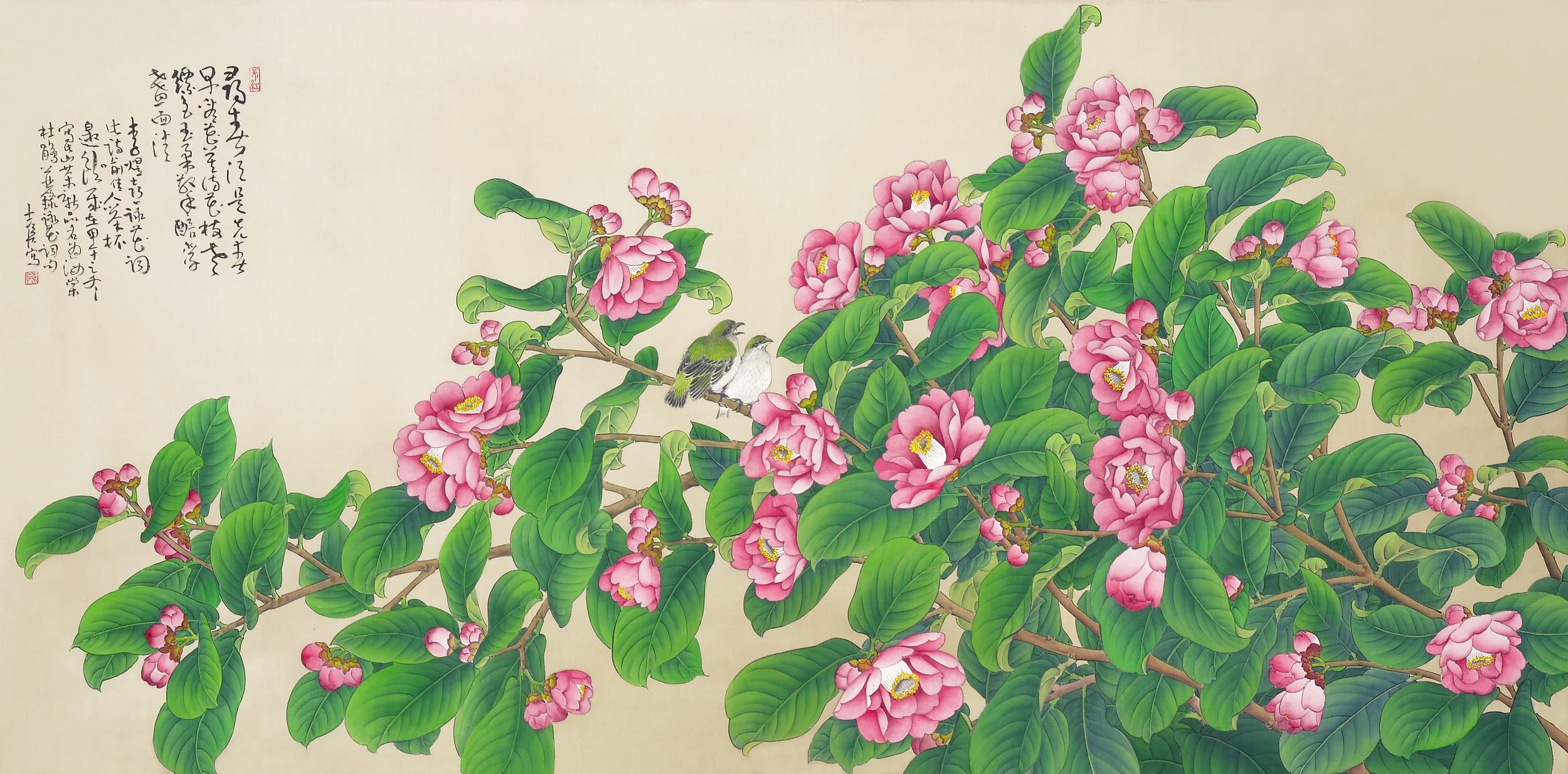 海棠杜鵑  65x135 cm  2014  水墨絹本