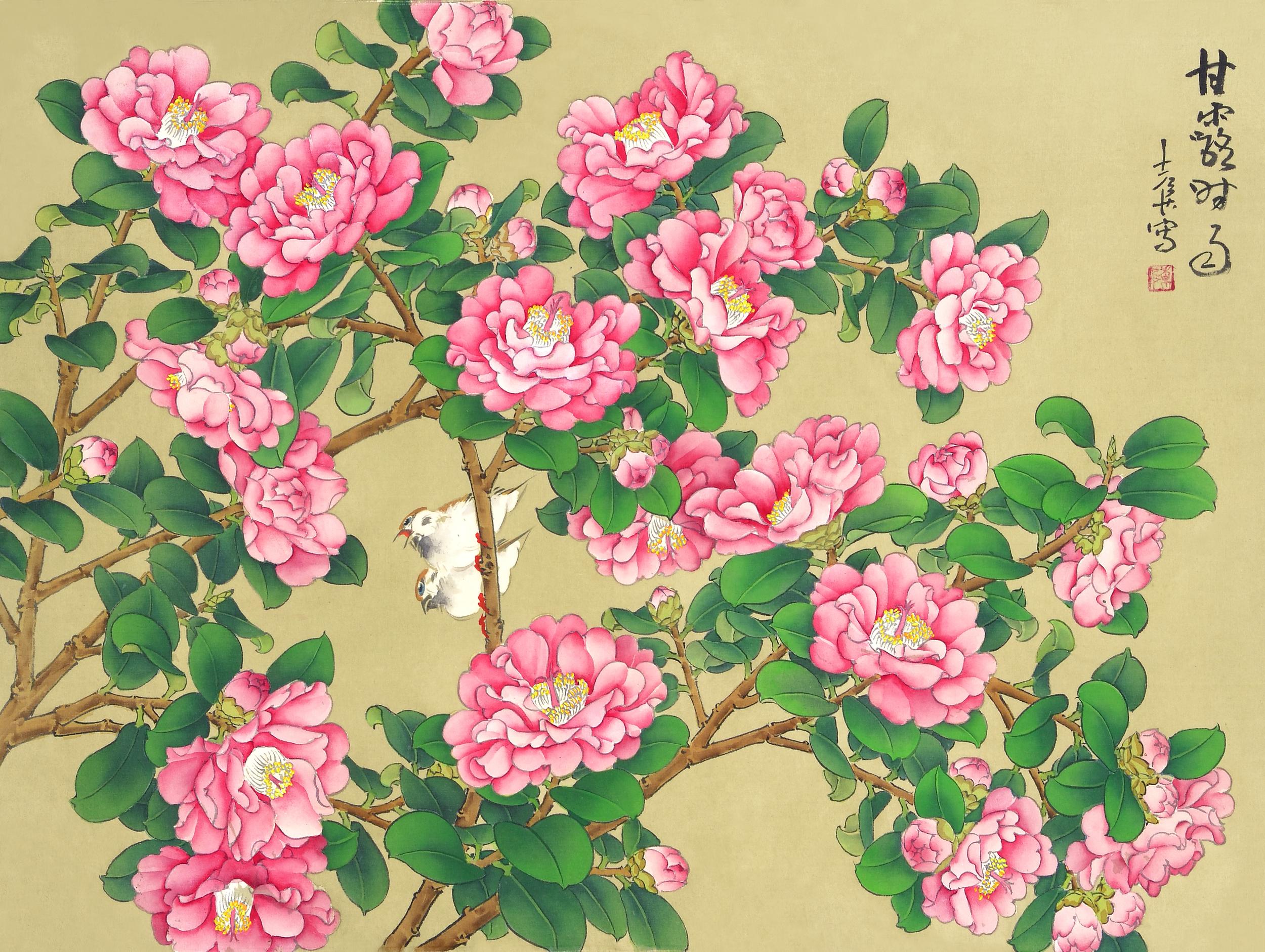 甘露時雨  56x39 cm  水墨絹本
