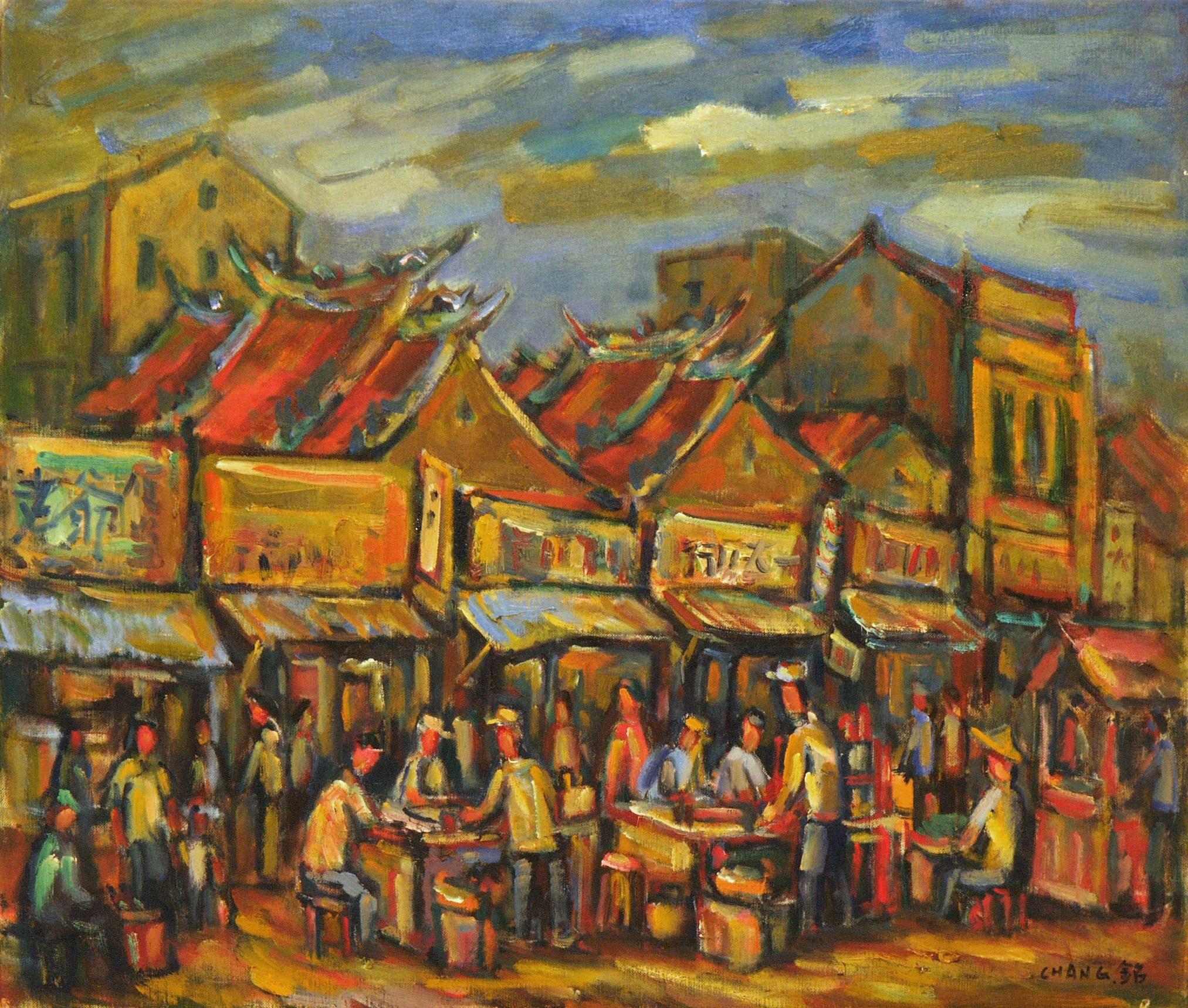 新竹城隍廟 10F 46x53 cm 油彩