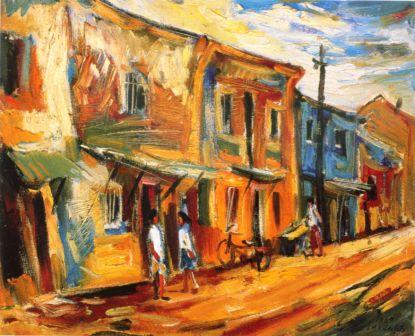 迪化街風情 45x38 cm 8F 油彩 1967