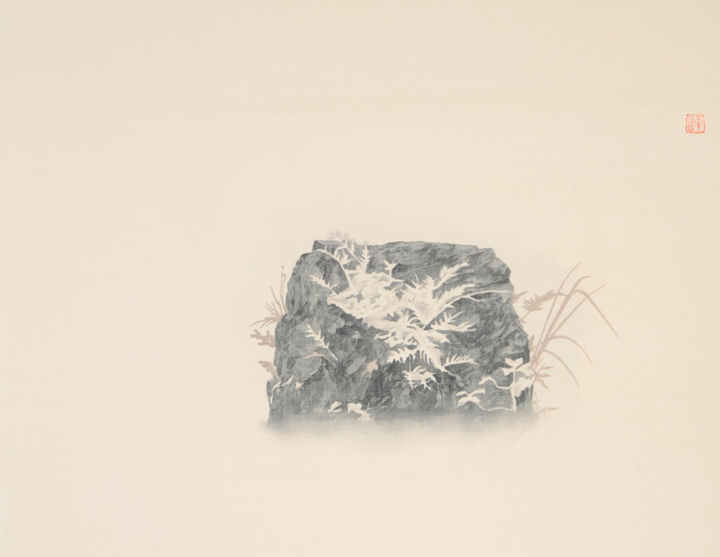 幽棲草自生-1  53x65 cm  2015  水墨絹本