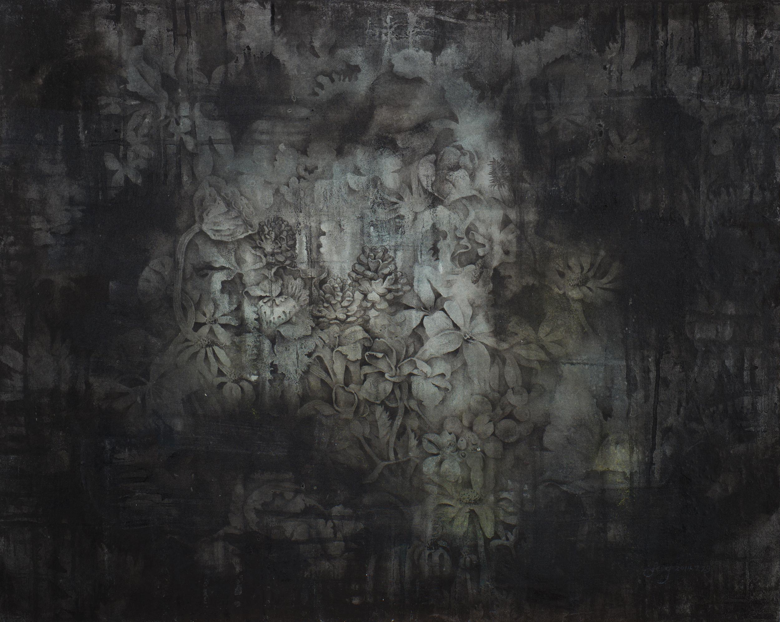 夜中綻放  72.5x91 cm  2014  複合媒材