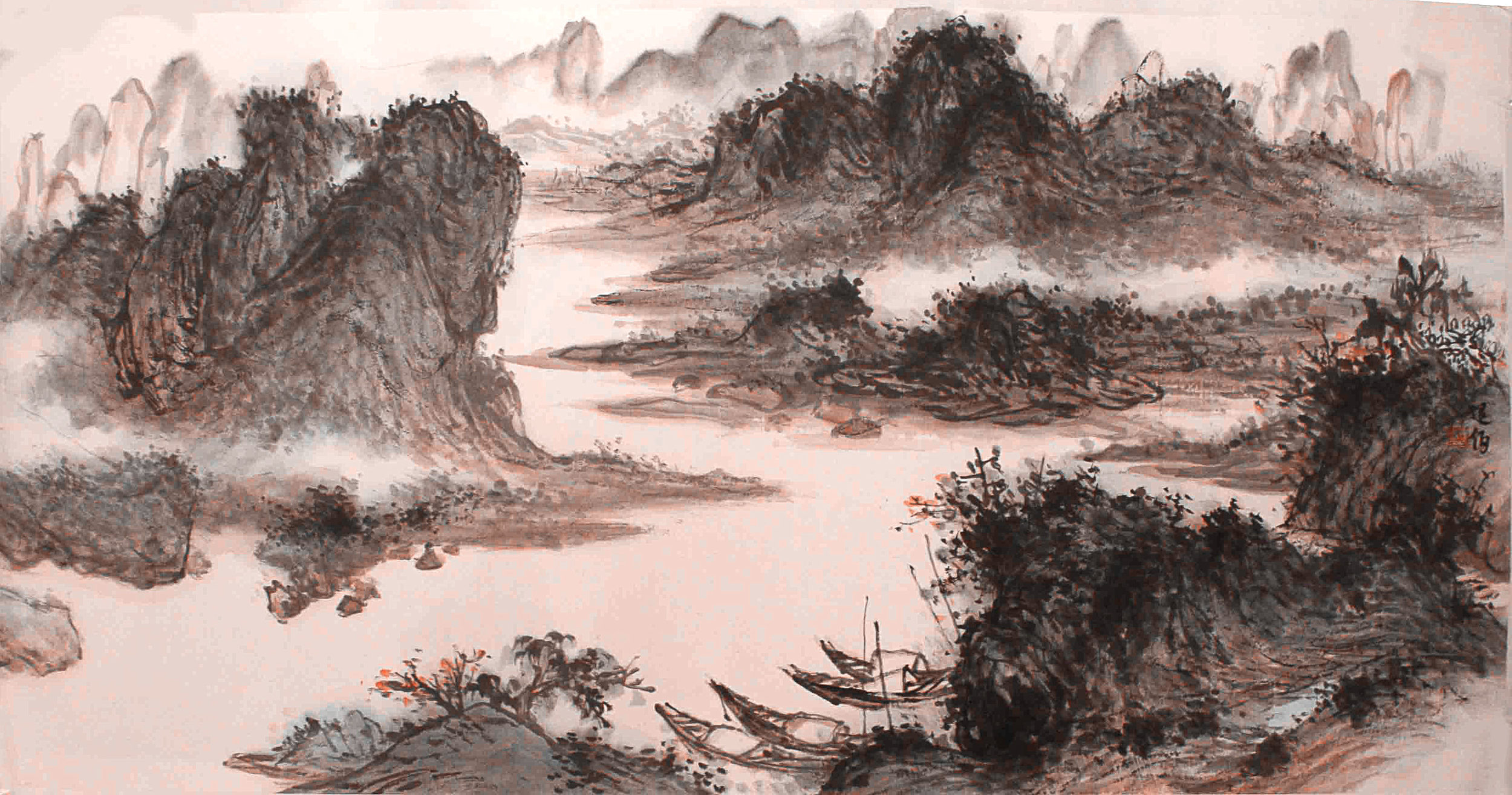 灕江 70x136 cm 水墨紙本
