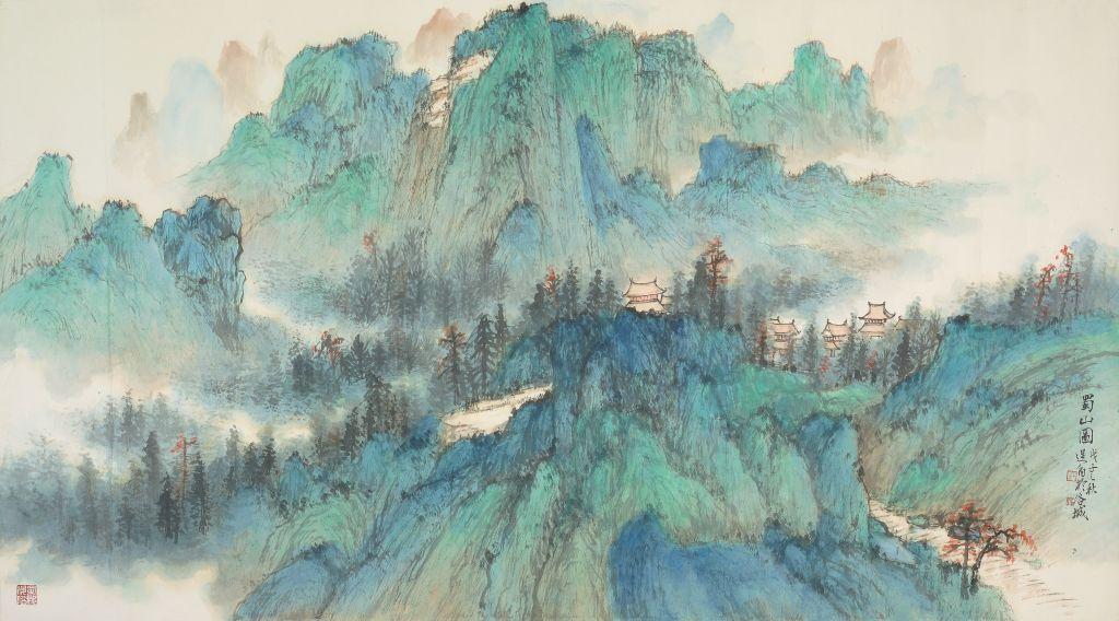 蜀山圖  66x120 cm  2008  墨彩紙本