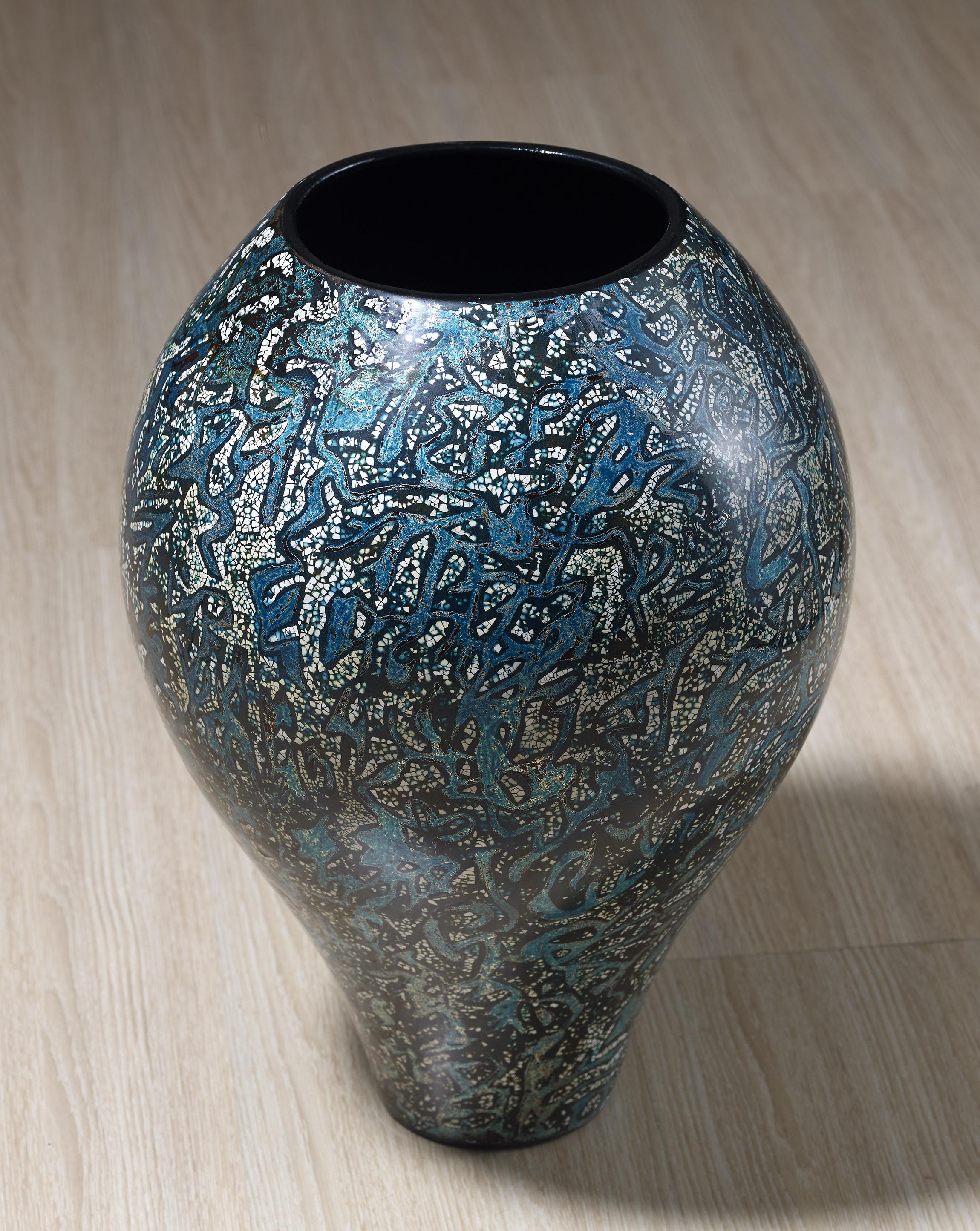 汪天亮  綠光  高45cm  脫胎漆瓶  2002