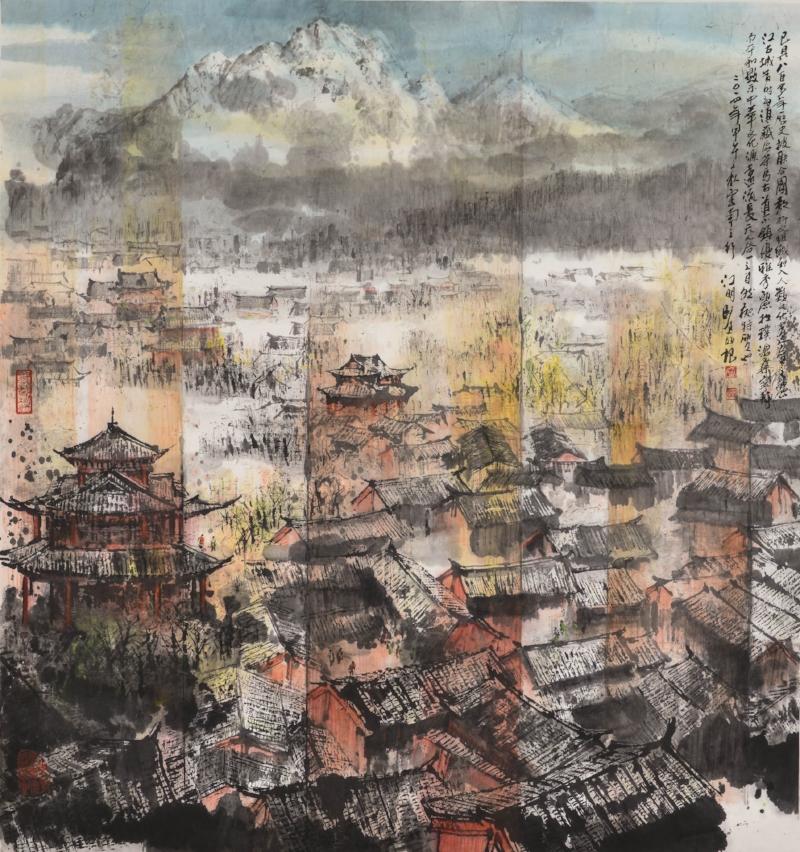 江明賢 麗江城與玉龍山 96x90cm 2014