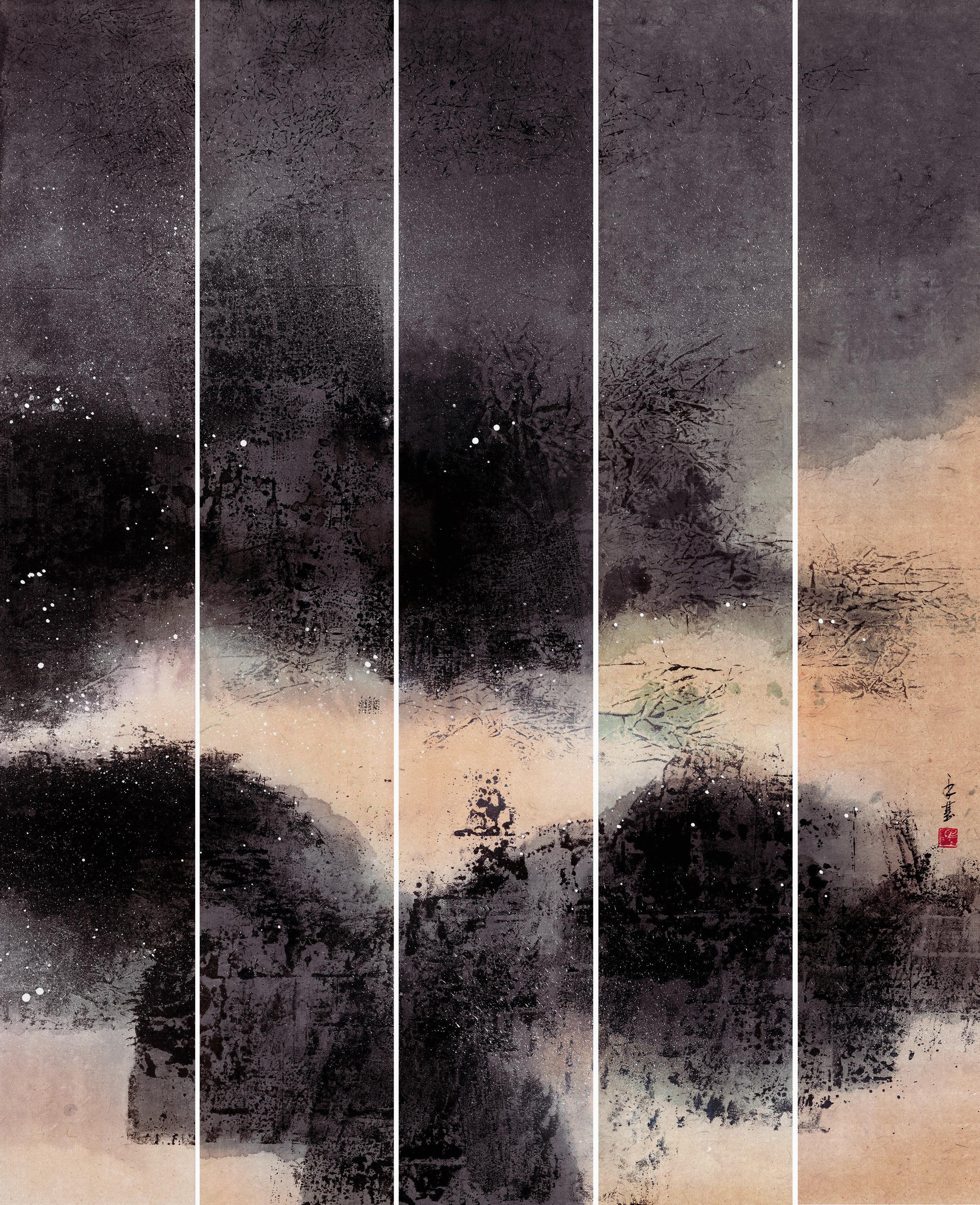 馮永基 俏江山系列(一) 140x23cmx5 2016 水墨紙本