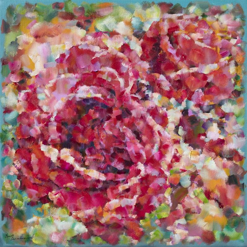 翁明哲 思念的玫瑰花 100x100cm 油彩畫布 2017