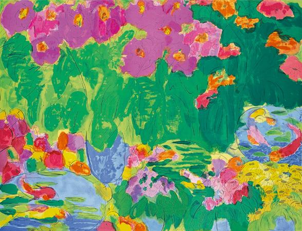 丁雄泉 桃和鮮花 120×160cm 1989 石版畫