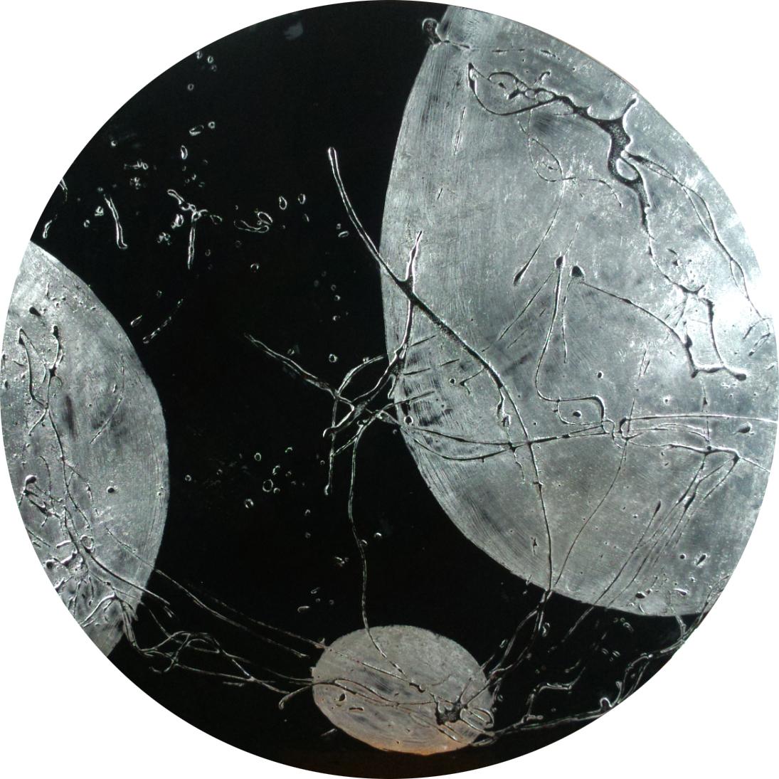 汪天亮 銀河星空 直徑100cm 漆、綜合媒材