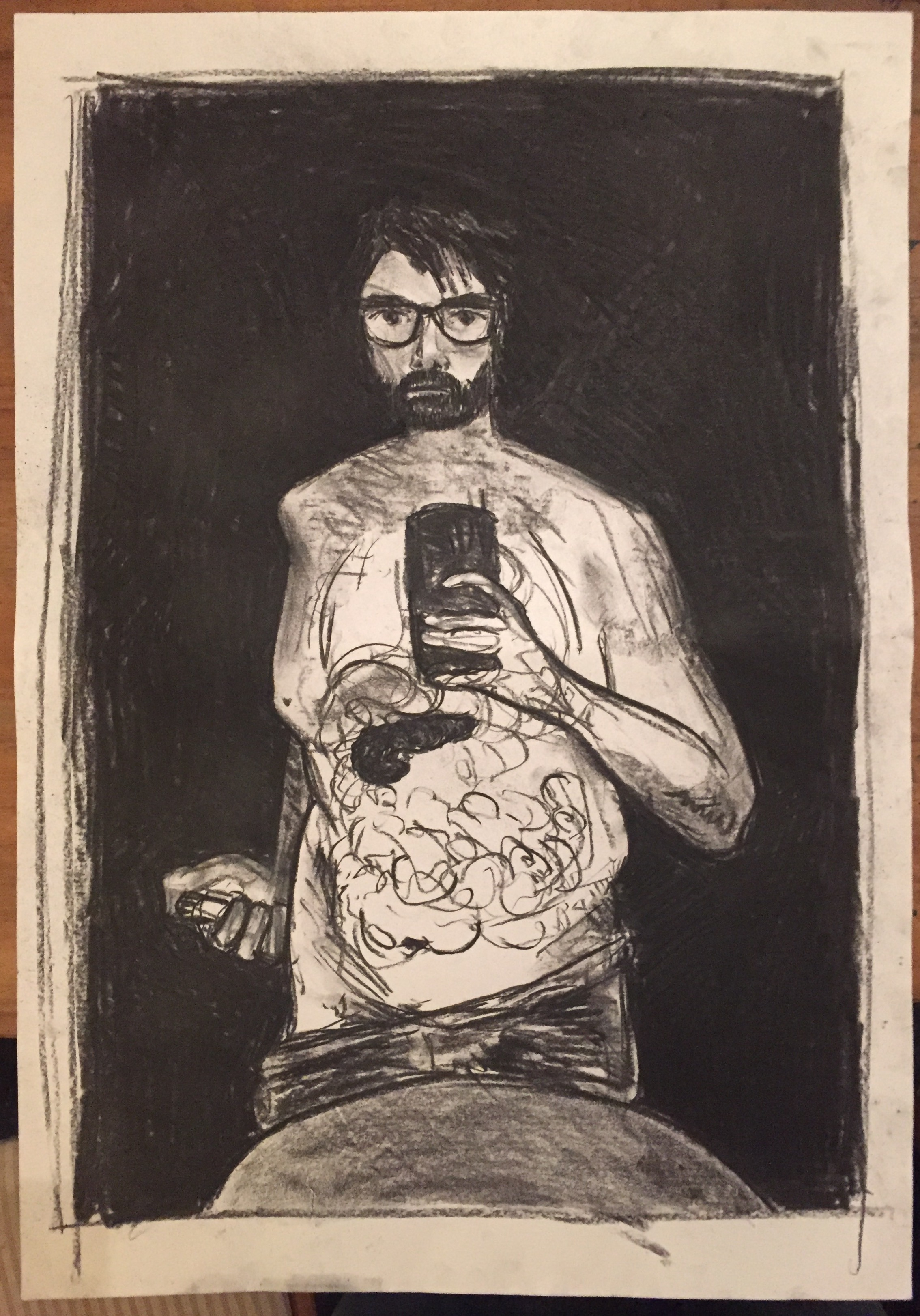 Pickering, A. 2017: Selfie with injection pen and pancreas . Charcoal on A2 paper.
