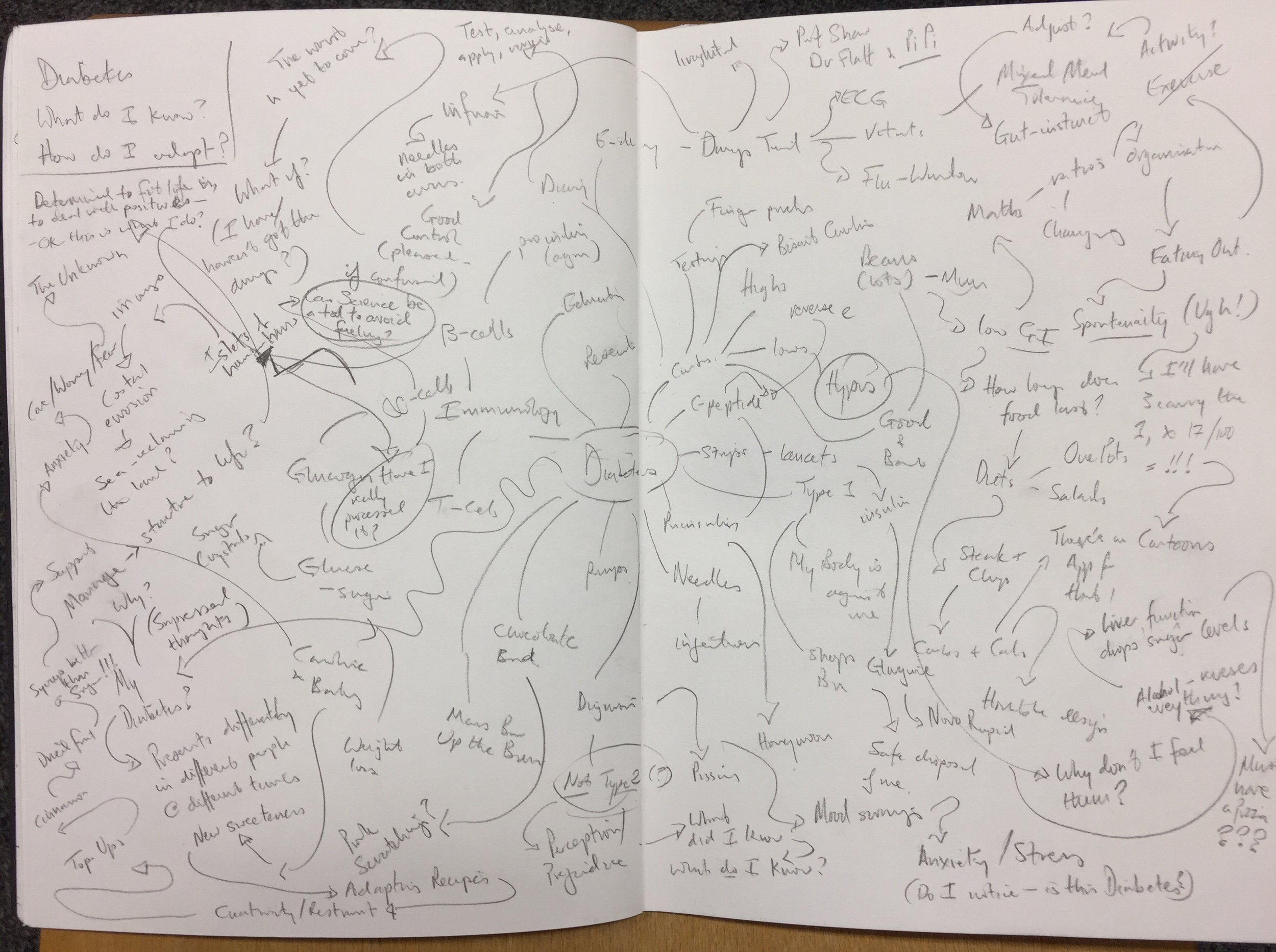 """""""Diabetes map"""" (pages from my sketchbook)"""