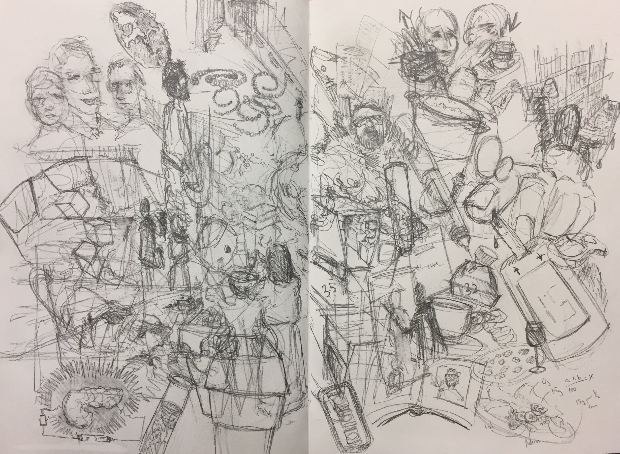"""""""Interpretive drawing: images of thought"""" (pages from my sketchbook)"""