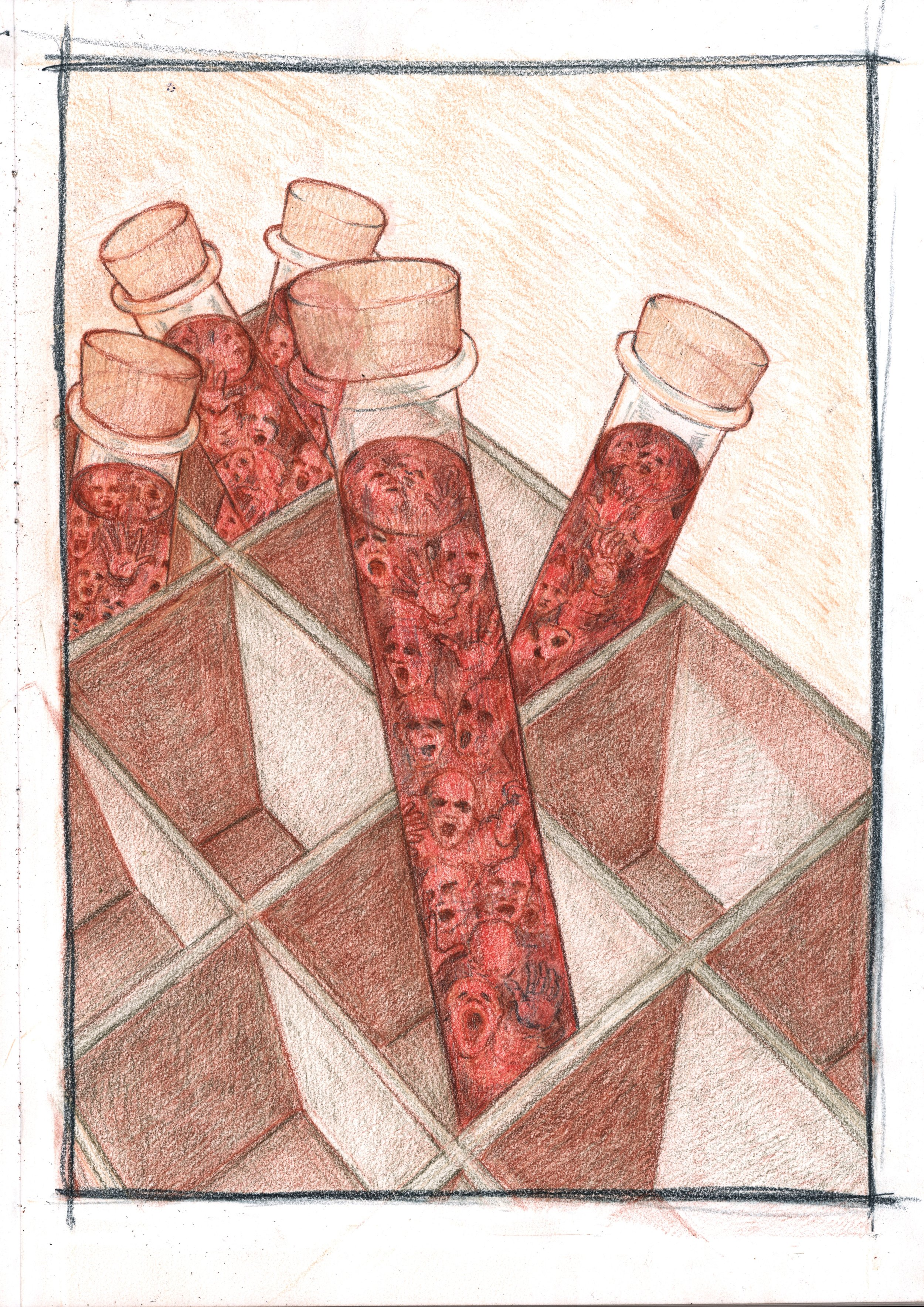 Pickering, A. 2017: Life as a Test Tube . Drawing pencils on A3 paper.