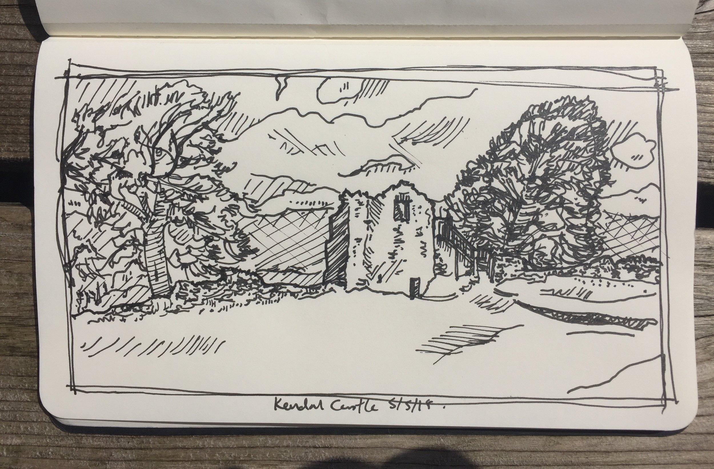 fig.4:    Kendal Castle    [pen on paper]