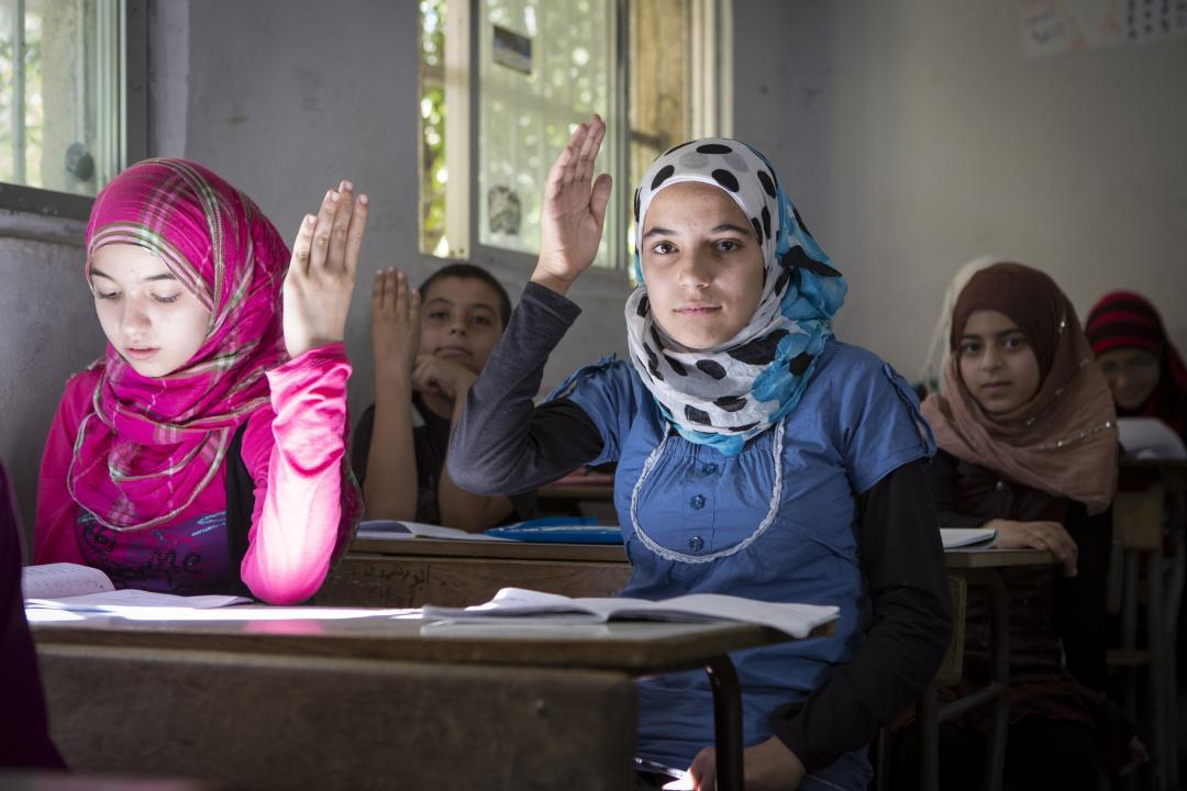 Syrian refugees at school in Tripoli, Lebanon.©Jonathan Hyams.Save the Children