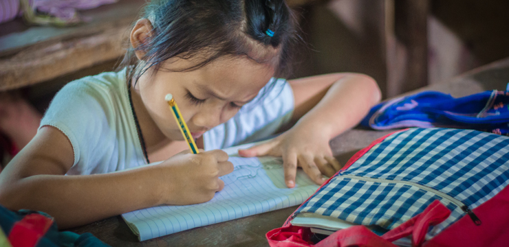 A student at school at the Mae La Camp in Mae Sot, Thailand.