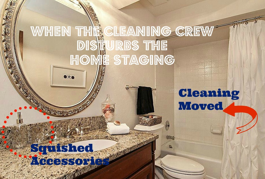 A house cleaner moved home staging - shower curtain pushed to other side, accessories squished.