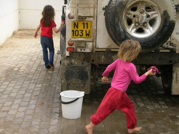What looked like a dirty car to the grown-ups was a source of fun and entertainment for my daughter and her friend. Some years back in Namibia.