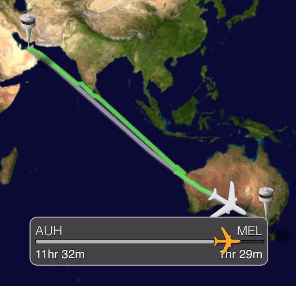 Abu Dhabi - Melbourne, nearly there