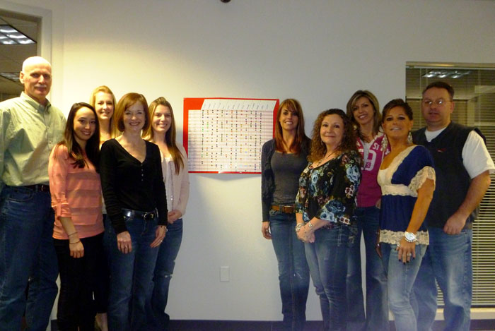 Brownstone staff with our workout chart