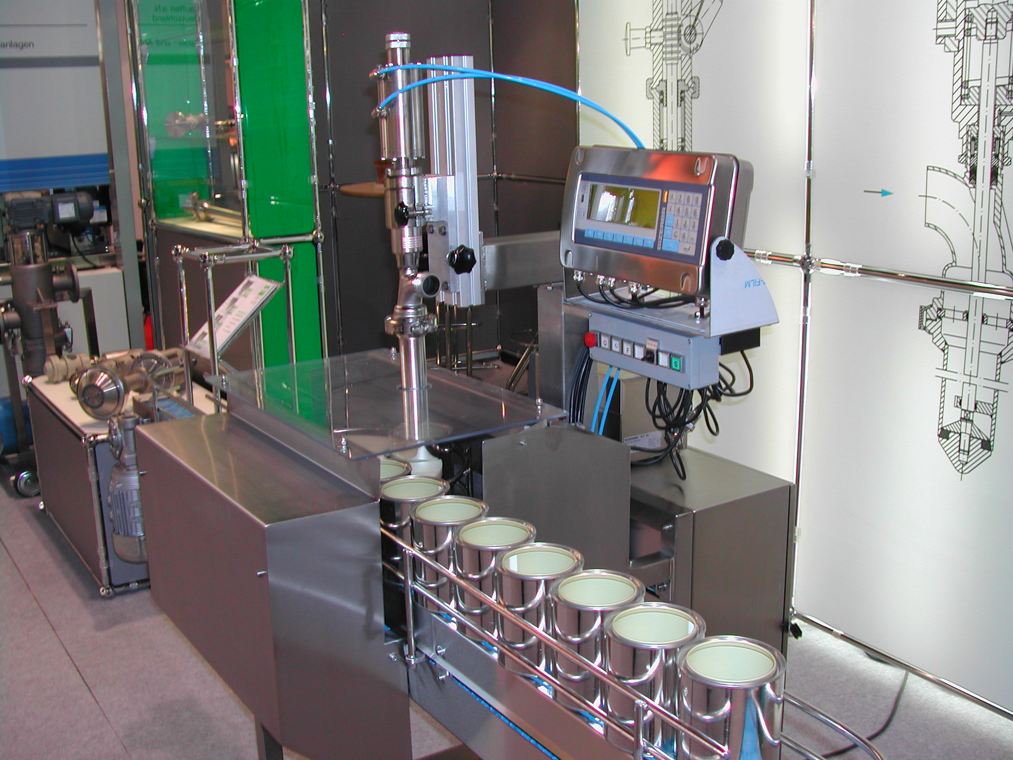 Full automatic open top filler for liquids, e.g. paint, sauces, ...