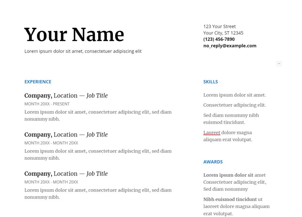 Google resume template