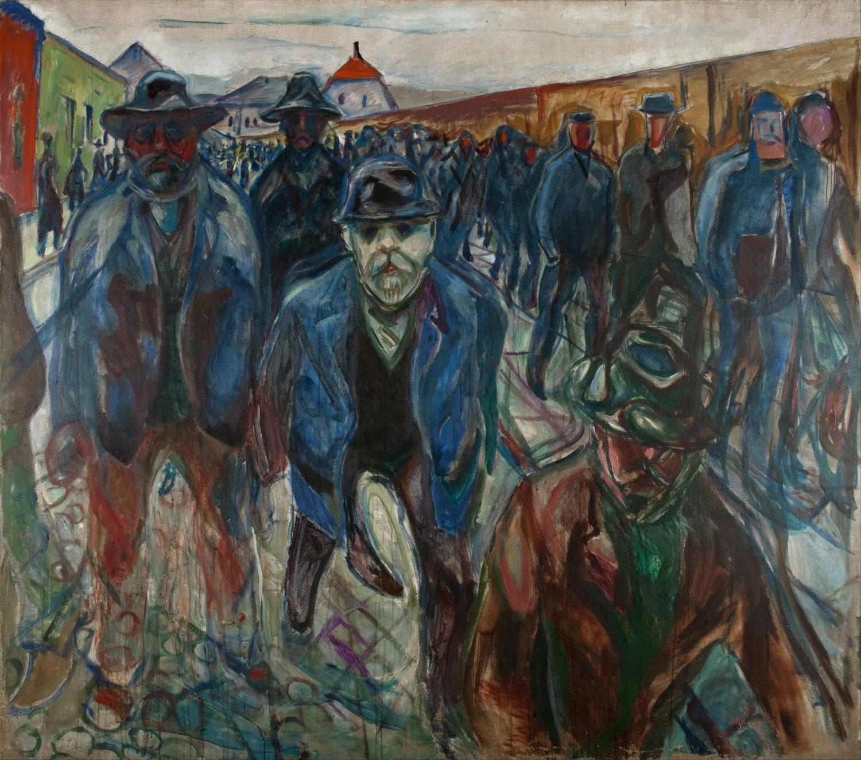 """Det mest kjente maleriet fra Munchs periode på Jeløy er  """"Arbeidere på hjemvei"""" , et stort maleri som viser arbeidere på vei hjem fra Glassverket på Jeløy."""
