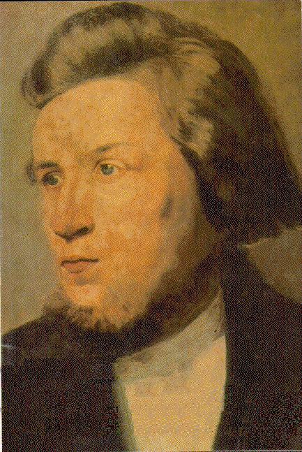 Det eneste kjente portrettet av Hans Nielsen Hauge, malt i København av ukjent kunstner ca. 1800.