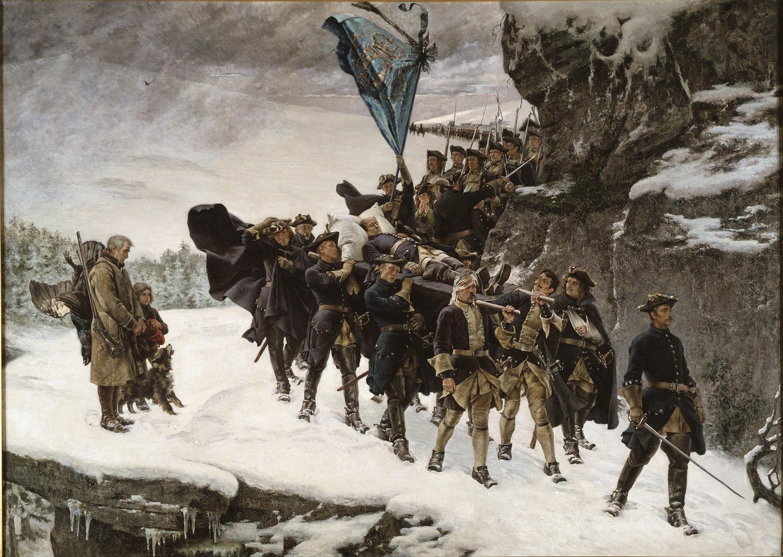 Det kjente historiemaleriet «Karl XIIs likferd», utført av Gustaf Cederström i 1884.