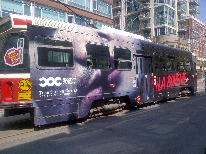 """COC """"La Bohème"""" streetcar wrap"""