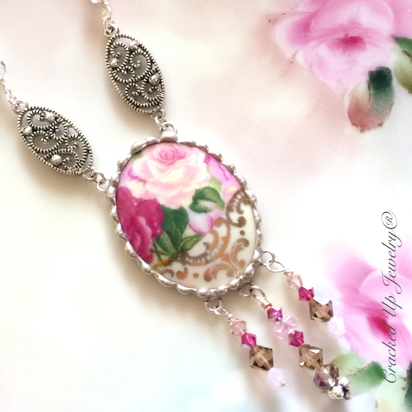 broken china tea cup necklace