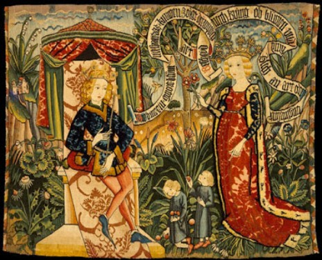 medieval tapestry depicting the meeting of king solomon and the queen of sheba