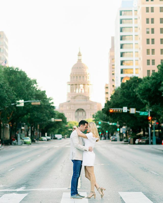 Time flies by when you're having fun! How is it already May?! We are in Denver this week, but last week we were in Austin and able to capture this sweet engagement session on South Congress. Kayla and Andrew came in from Boston and Mother Nature tried to throw us a curve ball with a crazy rain storm, thankfully the rain didn't last long and Saturday morning we had downtown all to ourselves!  Major props to Kayla and Andrew for waking up before the sun and having a sunrise engagement session, this photo is only possible at 7am on a weekend.