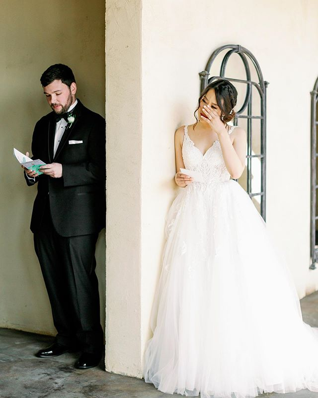 When you don't want to do a first look, a first touch is another great option. It's a sweet way to read your letters out loud and enjoy the special moment together. • We're still swooning over this precious moment from Ashley and Alex's wedding day. • Venue: @themamaison  Coordinator: @tracycollinsevents  Hair & Makeup: @lolabeautyatx  Wedding Dress: @brickhousebridal  Groom's Attire: @calvinklein