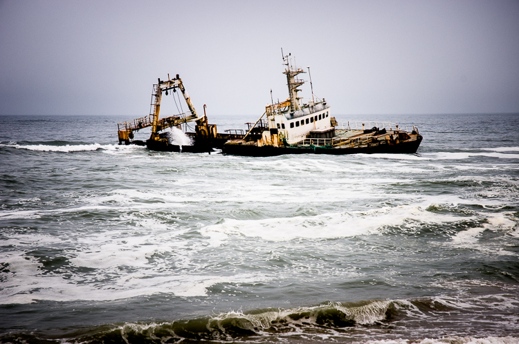 Recent shipwreck off the coast of Namibia