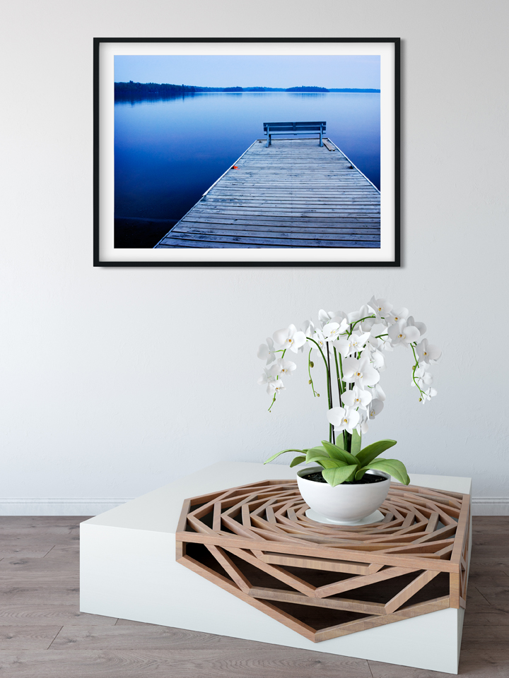 Twilight on the Docks printed at 16x20, matted and framed.